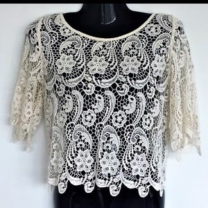 BEBE Crochet Lace Crop Top
